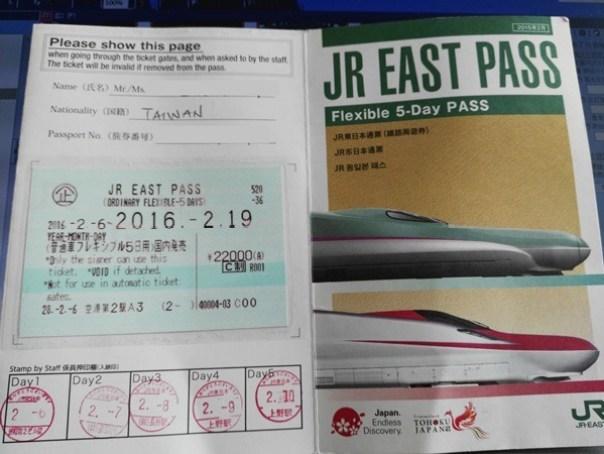 JRPass01 Tokyo-JR East Pass Flexible 5 Day東日本通票 即將改版(兩星期任選5天使用)