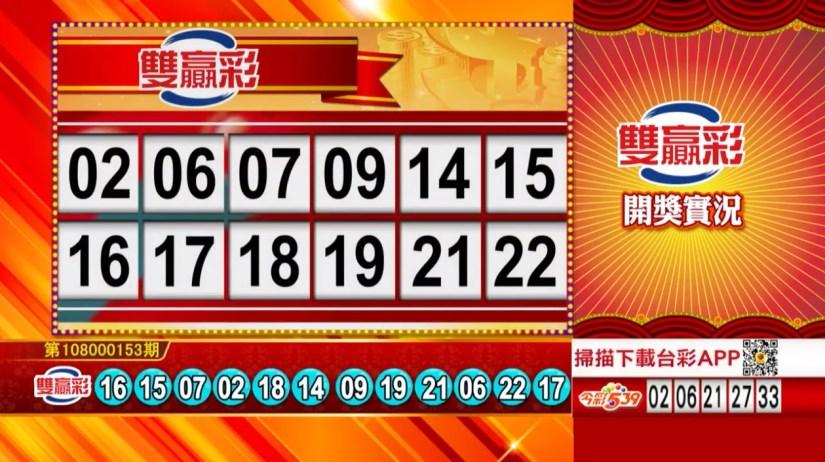 雙贏彩中獎號碼》第108000153期 民國108年6月27日