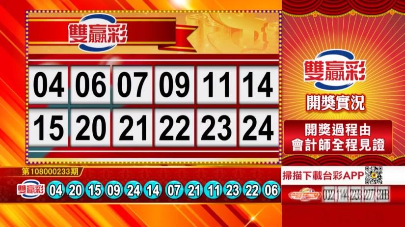 雙贏彩中獎號碼》第108000233期 民國108年9月28日