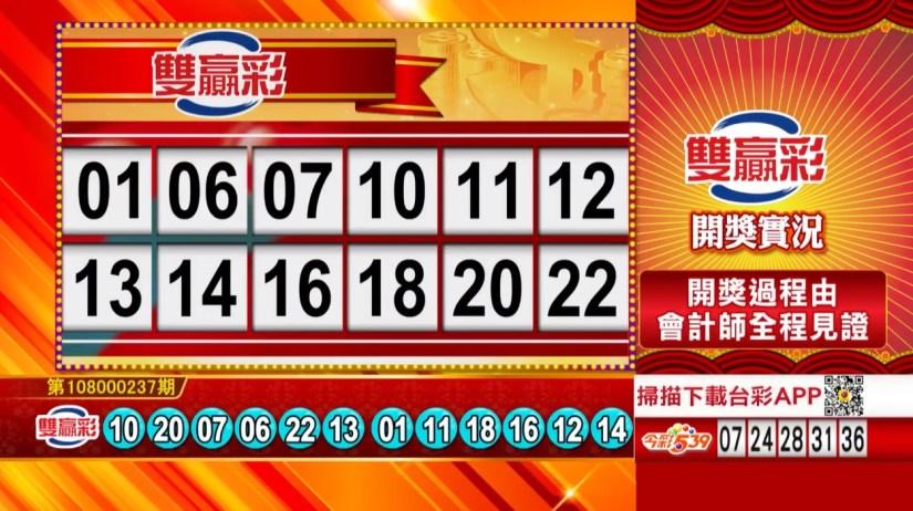 雙贏彩中獎號碼》第108000237期 民國108年10月3日