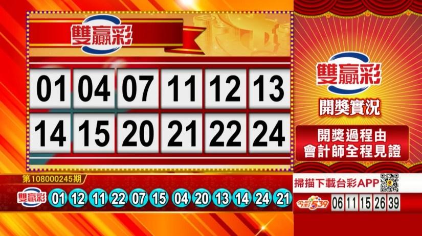 雙贏彩中獎號碼》第108000245期 民國108年10月12日