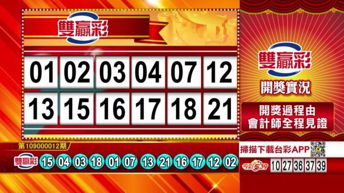 雙贏彩中獎號碼》第109000012期 民國109年1月14日