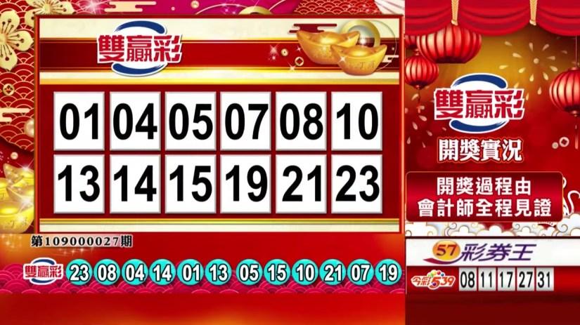 雙贏彩中獎號碼》第109000027期 民國109年1月31日