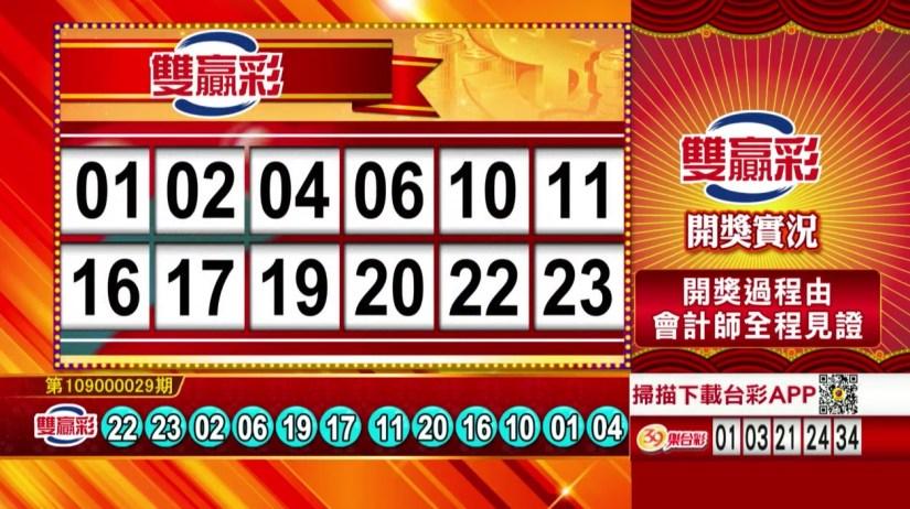 雙贏彩中獎號碼》第109000029期 民國109年2月3日