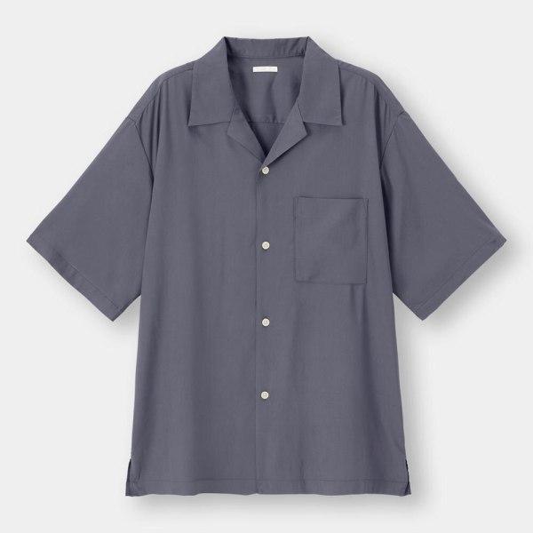 オープンカラーシャツ(5分袖)-BLUE