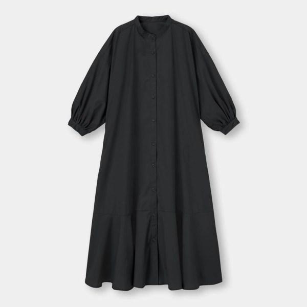 バンドカラーシャツワンピース(7分袖)-BLACK