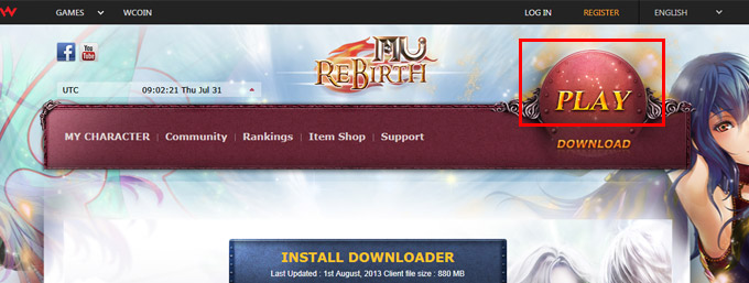 Click on a 'PLAY' button on the MU Rebirth homepage!