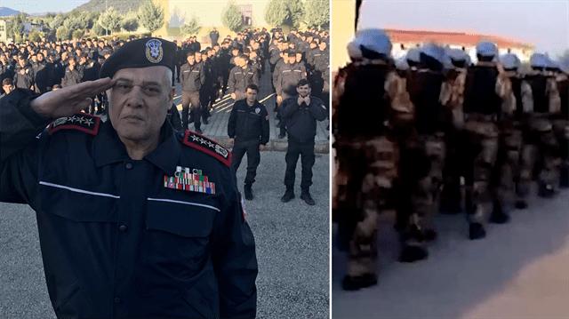 Asker selamı veren güvenlik güçlerinin, Türk polisinin üniformasıyla eğitime katıldığı görülüyor.