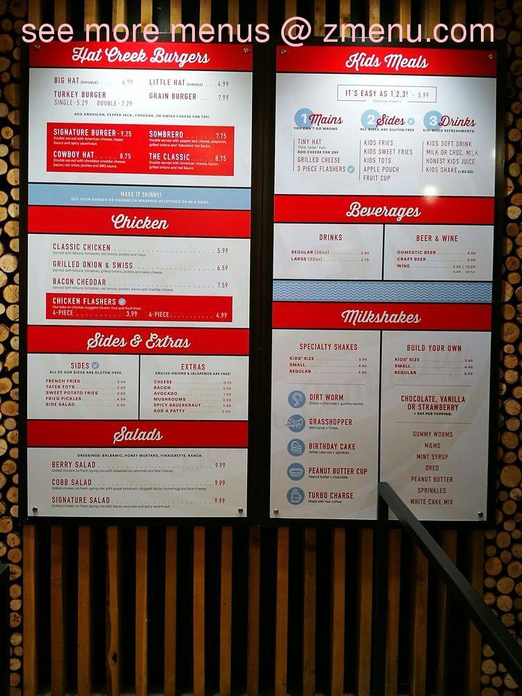 Online Menu Of Hat Creek Burger Company Restaurant Allen Texas 75002 Zmenu
