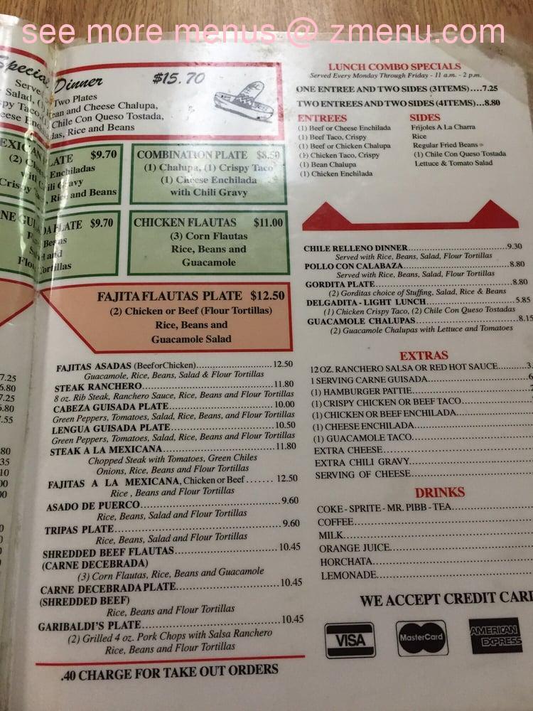 online menu of el patio restaurant