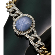 Antique French blue star sapphire bracelet set diamonds LEON GARIOD