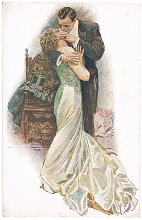 Harrison Fisher postcard The Kiss