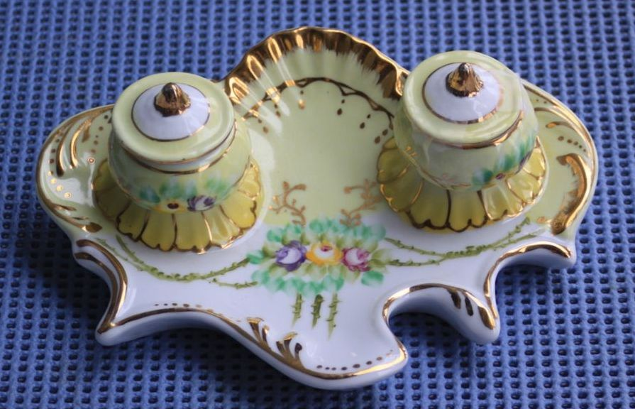 Limoges China Hand Painted Double Well Inkwell From Rlreproshop On Ruby Lane