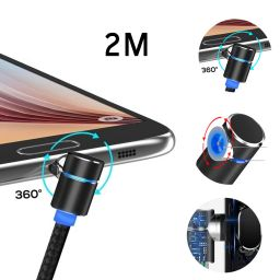 Magnetic Charging Cable 90 Degree Angle Magnet Connector Micro USB Type-C  iphone High Speed Quick Charge USB Cable LED Light Detachable & Changable  Adapters(2M)