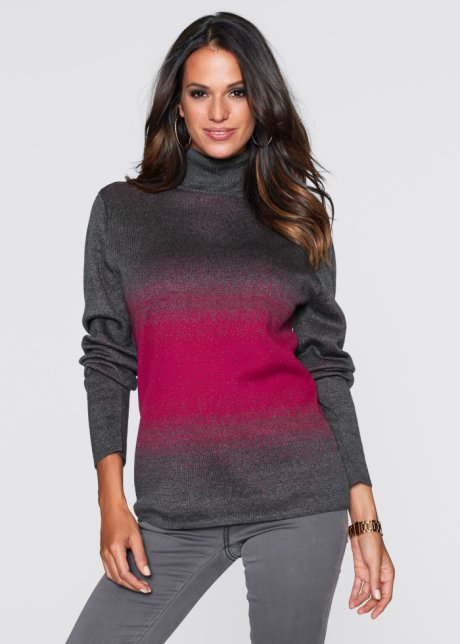 Pull col roulé, bpc selection, anthracite chiné/rouge baie