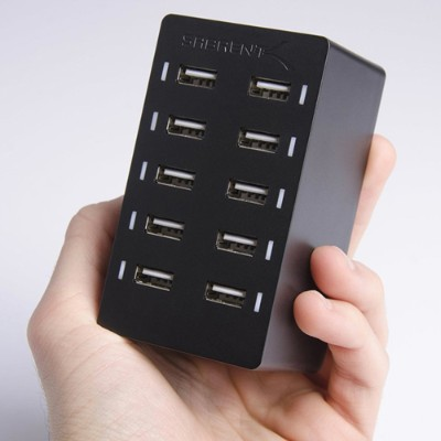 Smart port technology maximizes compatibility with Android  Apple and other devices by enabling charging speeds of up to 12 amps among 10 ports or 2.4 amps per port.