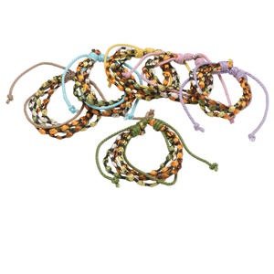 Bracelet Mix, Nylon Waxed Cotton Cord, Mixed Colors, 16mm Wide, Adjustable 6-1/2 8-1/2 Inches Knot Closure. Sold Per Pkg 6