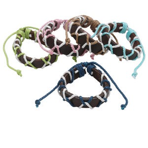 Bracelet Mix, Leather (dyed) Cotton Cord, Mixed Colors, Adjustable 6-9 Inches Knot Closure. Sold Per Pkg 5