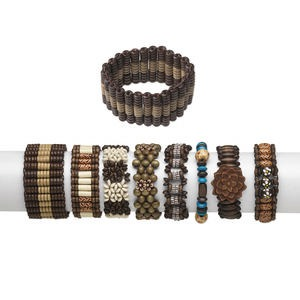 Bracelet Mix, Stretch, Wood (dyed / Coated) Acrylic, Multicolored, Mixed Size Shape, 6-1/2 Inches. Sold Per Pkg 24