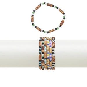 Bracelet Mix, Stretch, Wood (coated) / Acrylic / Glass / Ceramic, Multicolored, 5mm Wide, 6-1/2 Inches. Sold Per Pkg 10