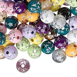 Bead Mix, Acrylic, Mixed Colors, 8mm Round Stars. Sold Per 75-gram Pkg, Approximately 250-275 Beads
