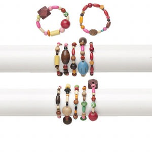 Bracelet Mix, Stretch, Wood (natural / Dyed), Mixed Colors, 15-18mm Wide, 5-21mm Assorted Shape, 6 Inches. Sold Per Pkg 5