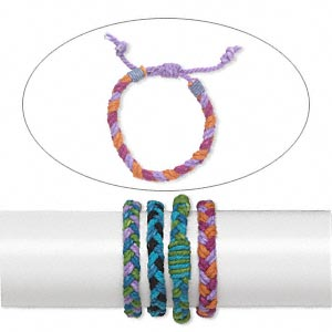Bracelet Mix, Cotton, Multicolored, 11mm Wide, Adjustable 6 7-1/2 Inches Wrapped Knot Closure. Sold Per Pkg 4
