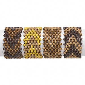 Bracelet Mix, Stretch, Wood (natural / Dyed), Multicolored, 47mm Wide 6x4mm Rondelle Chevron Pattern, 6 Inches. Sold Per Pkg 4