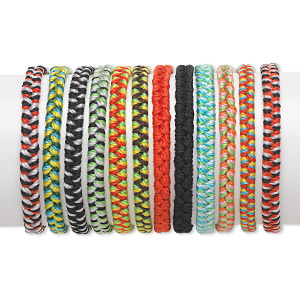 Bracelet Mix, Nylon, Multicolored, 4-6mm Wide Chevron Design, Adjustable 6-1/2 8 Inches Tie Closure. Sold Per Pkg 12
