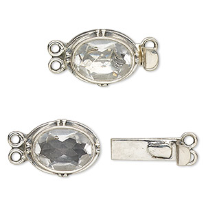 Clasp, 2-strand Tab, White Topaz (natural) Sterling Silver, 19x13mm Oval 14x10mm Faceted Oval. Sold Individually