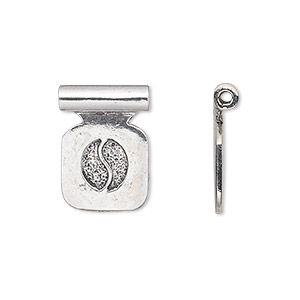 Bail, Glue-on, Antique Silver-plated Pewter (tin-based Alloy), 19x14mm 13x13mm Square Flat Pad Tube Bail. Sold Per Pkg 2
