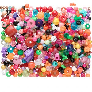 Bead Mix, Acrylic, Mixed Colors, 4mm-34x26mm Mixed Shape 1.5-3.5mm Hole. Sold Per 3/4 Pound Container, Approximately 950 1,100 Beads
