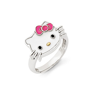 Ring, Hello Kitty®, Enamel Sterling Silver, Multicolored, 14mm Hello Kitty Face, Size 8. Sold Individually