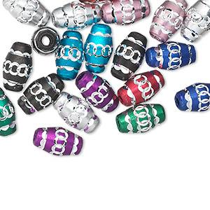 Bead Mix, Aluminum, Mixed Colors, 10x6mm Diamond-cut Oval 1.5-2mm Hole. Sold Per Pkg 20