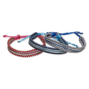 Bracelet Mix, Nylon Imitation Rhodium-finished Steel, Mixed Colors, 12mm Wide, Adjustable 6-1/2 10 Inches Macramé Knot Closure. Sold Per Pkg 3