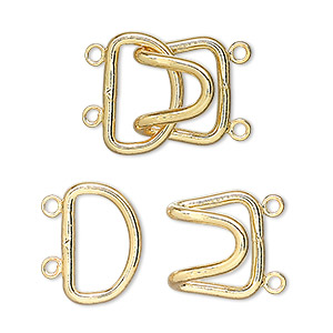 Clasp, 2-strand Hook, Gold-plated Brass, 23x15mm. Sold Per Pkg 10