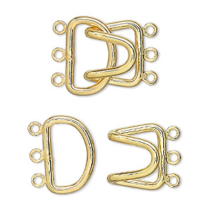 Clasp, 3-strand Hook, Gold-plated Brass, 23x15mm. Sold Per Pkg 10