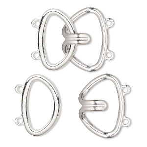 Clasp, 2-strand Hook, Silver-finished Brass, 24x22mm. Sold Per Pkg 10