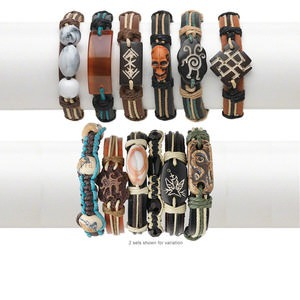 Bracelet Mix, Leather / Bone / Agate (natural) / Hemp / Resin, Multicolored, Mixed Size Shape, Adjustable 5-1/2 8-1/2 Inches Knot Closure. Sold Per Pkg 6