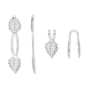 Bail, Fold-over, Silver-plated Brass, 29x5mm Y-style Leaf 14mm Grip Length. Sold Per Pkg 100