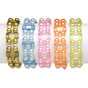 Bracelet Mix, 2-strand Stretch, Acrylic / Glass / Elastic, Pearlized Mixed Colors, 7.5mm Round 17x8mm Flat Rectangle, 5-1/2 Inches. Sold Per Pkg 5