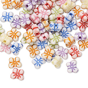Bead Mix, Acrylic, Mixed Colors, 7x5mm Butterfly. Sold Per Pkg 100