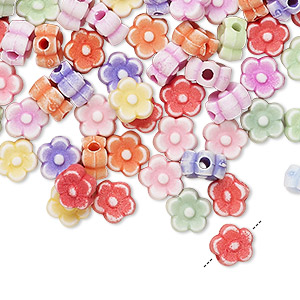 Bead Mix, Acrylic, Mixed Colors, 7x7mm Flower. Sold Per Pkg 100