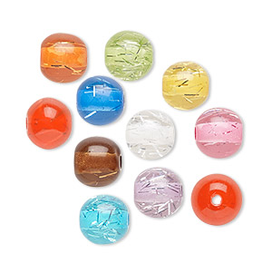Bead Mix, Acrylic, Translucent Mixed Colors Silver-colored Foil, 8mm Round. Sold Per Pkg 100