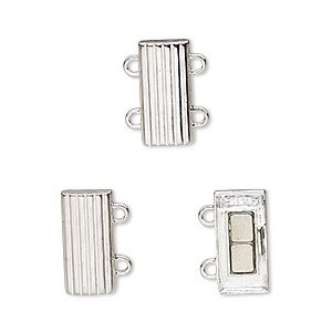 Clasp, 2-strand Magnetic, Sterling Silver, 14x6mm Rectangle. Sold Individually