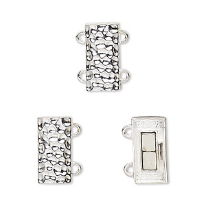 Clasp, 2-strand Magnetic, Sterling Silver, 14x7mm Hammered Rectangle. Sold Individually