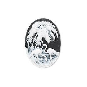 Cabochon, Acrylic, Black White, 25x18mm Non-calibrated Oval Cameo Palm Tree Flamingo. Sold Individually