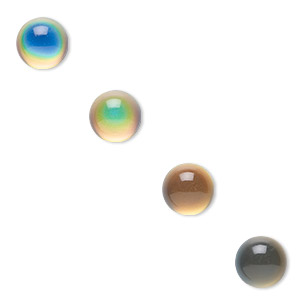 Cabochon, Acrylic, Multicolored, 12mm Color-changing Non-calibrated Round. Sold Per Pkg 4