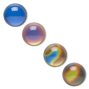 Cabochon, Acrylic, Multicolored, 18mm Color-changing Non-calibrated Round. Sold Per Pkg 4