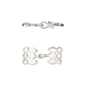 Clasp, 3-strand Hook, Antiqued Sterling Silver, 16x9mm. Sold Per Pkg 2